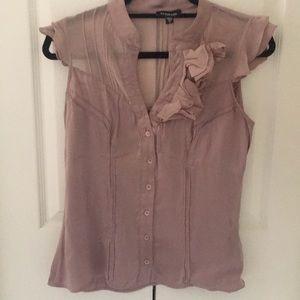 Lilac silky ruffle flower appliqué button shirt